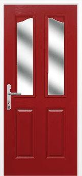 Red 2 Panel 2 Angle Composite Door